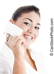 young attractive woman showing business card