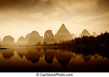 guilin - beautiful pastoral landscape in yulong river...