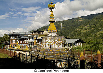 Bhutan, Trashigang - Bhutan, rich decorated Chorten in...