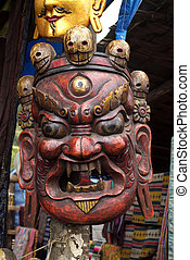 Bhutan, ceremony mask - Bhutan, wooden mask for sacred...