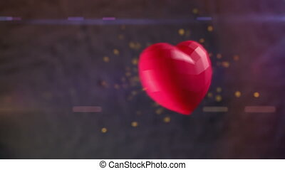 Ruby heart bursting with sparks - 3D animation of Ruby heart...