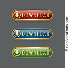 Download buttons - Set of golden glossy download buttons