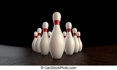 Bowling strike - 3D animation of ten-pin bowling strike