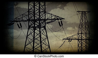 High voltage towers at sunset. Vintage styled shot.
