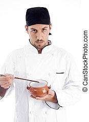 mannelijke, kok, het voorstellen, Chinees, schaaltje
