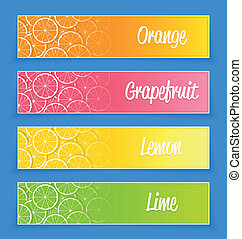 Promotional citrus banners for web design and advertising...