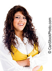 beautiful young woman posing with curly hairs with white...