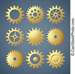 Golden cogwheels