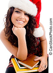 young student wearing christmas hat with white background
