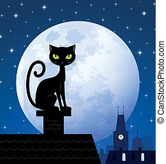 Black cat and moon - Black cat on chimney with moon town and...
