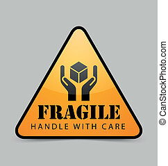 Fragile icon - Glossy fragile icon isolated on grey...