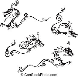 Stylistic dragon tattoos. Set of black and white vector...