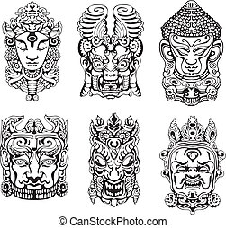 Hindu deity masks. Set of black and white vector...