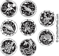 Round tattoos with reptiles Set of black and white vector...