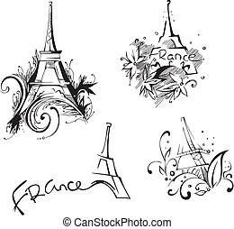 Sketches with Eiffel Tower. Vector set of black and white...