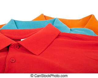 Polo shirts - pile of man polo shirts isolated on white...
