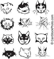 Set of outline cat heads