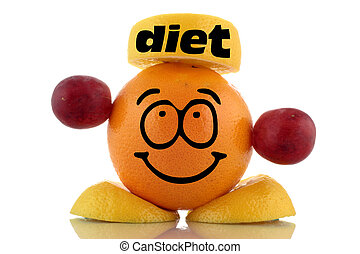 Friendly diet Funny fruit character on white background