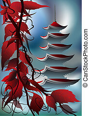pagoda at sunrise - The Branch of eastern red leaf tree in...