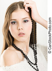 young attractive girl - Portrait of a young attractive girl