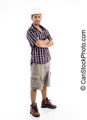 standing pose of casual man with folded arms
