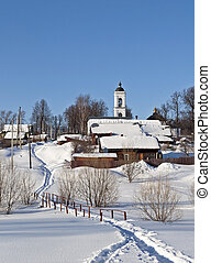 Winter country landscape with a church - Winter country...