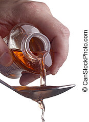 Dosing of medications - Liquid medicine poured into a spoon...