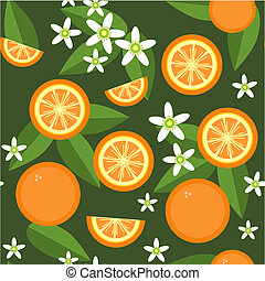Seamless orange fruit and flowers texture 545 - Vector....