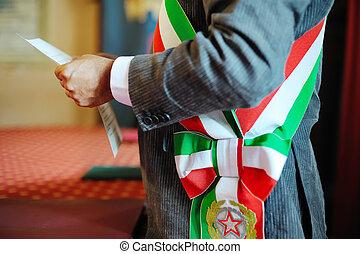 mayor celebrating wedding ceremony - mayor during the...