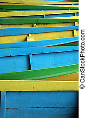 pattern rows of colorful wooden boats