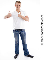 smiling male showing thumbs up on an isolated background