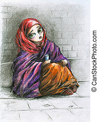 Poor girl - A poor little girl sitting on the street.Picture...
