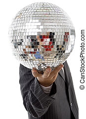 young guy hidden his face with disco ball on an isolated...