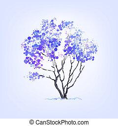 Winter vector tree of blots background