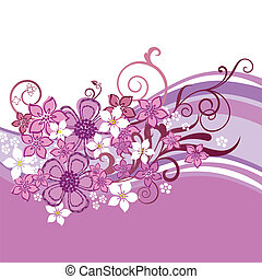 Pink flowers banner isolated - Pink floral banner isolated...