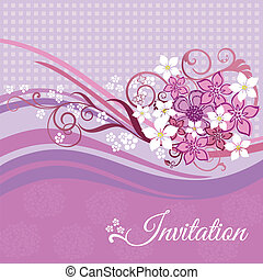 Invitation card with pink flowers
