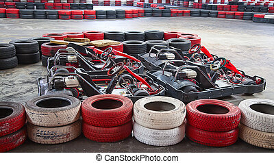 Indoor karting race (karts and safety barriers)
