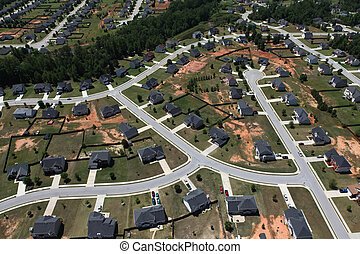 Suburban Streets Aerial - Modern middle class suburban...