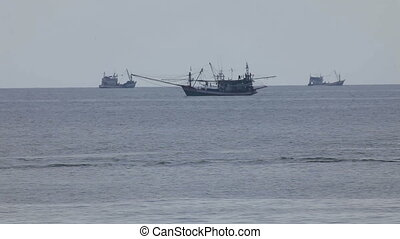 Fishing vessels in Andaman sea, Thailand.