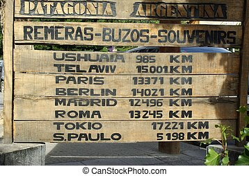 Signs in Argentina - Distance sign in the small village of...