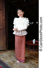 Little thai girl in a traditional costume