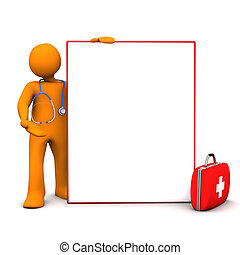Doc Signboard - Doc with stethoscope, case and signboard on...