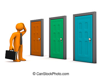 Businessman Three Doors - Orange businessman with three...