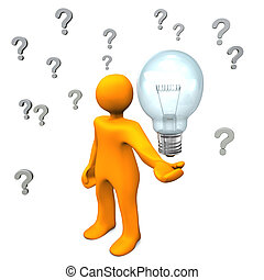 Questions Idea - Orange cartoon character with question...