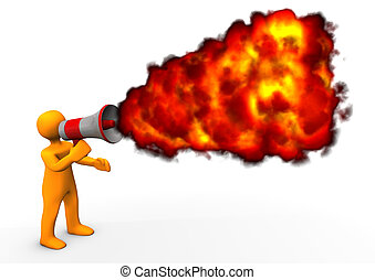 Blog Fire - Orange cartoon character with megaphone and fire...