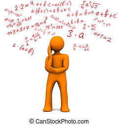 Math - Orange cartoon character with maths formally. White...