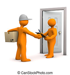 Receipt - Two orange cartoon characters with parcel and door...