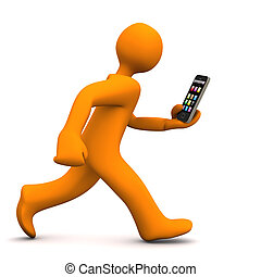Manikin Smartphone Run - Orange cartoon character runs with...