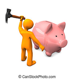 Rob The Piggy Bank - Orange cartoon character robs the piggy...