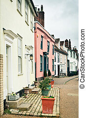English houses - Row of traditional town houses in Clare,...